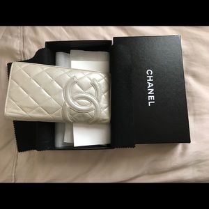 Authentic Chanel Cambon Pearl White Wallet